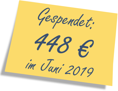 We donated: 448 EUR in June 2019.
