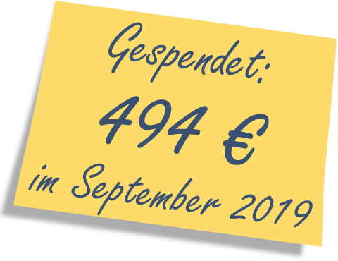 We donated: 494 EUR in September 2019.