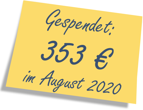 We donated: 353 EUR in August 2020.