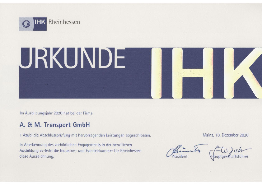 We were awarded by the IHK in 2020.